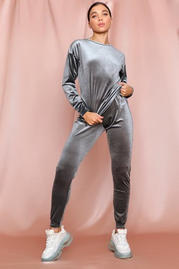 Grey Velvet Top + Sweat Pant Set