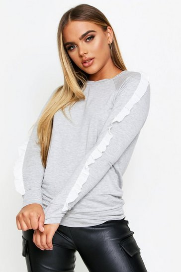 Womens Light grey Ruffle Detail Sweatshirt Top