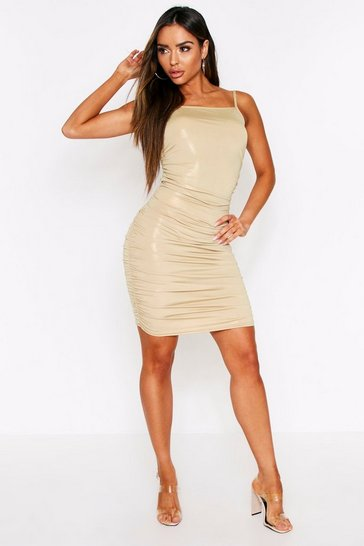 Womens Gold Metallic Foil Ruched Dress