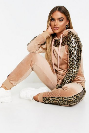 Beige Tiger Panel Velvet Sequin Loungewear Set