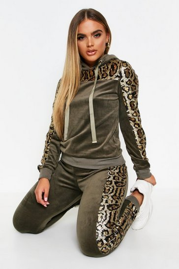 Khaki Tiger Panel Velvet Sequin Loungewear Set