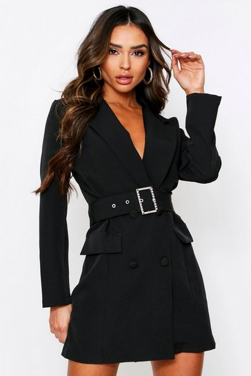 Womens Black Diamante Buckle Blazer Dress
