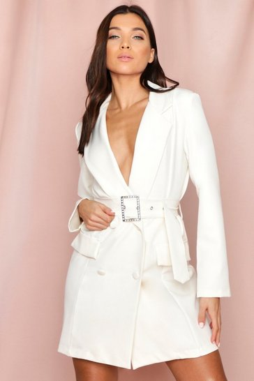 Womens White Diamante Buckle Blazer Dress