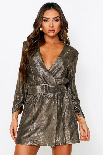 Gold Metallic Belted Blazer Dress