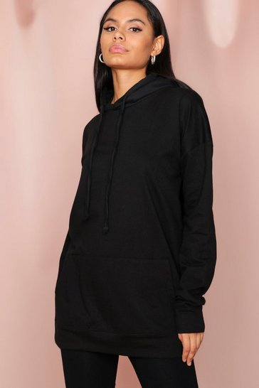 Black Oversized Fleece Hooded Sweatshirt