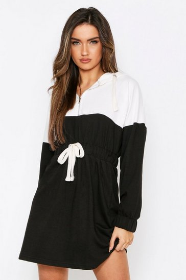 Black Colour Block Drawstring Hooded Sweater Dress