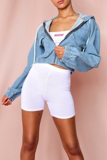 Mid blue Hooded Denim Bomber Jacket