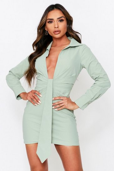 Womens Sage Ruched Drape Front Plunge Shirt Dress