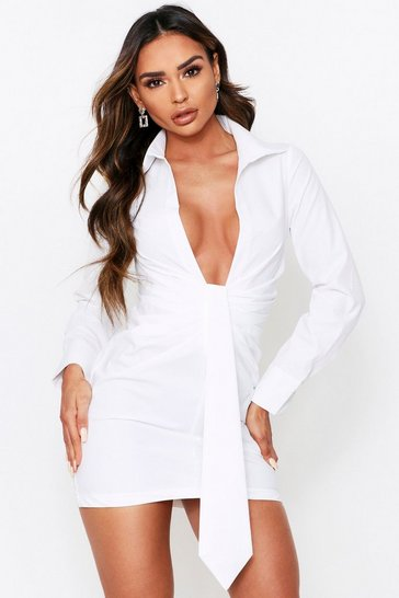 White Ruched Drape Front Plunge Shirt Dress