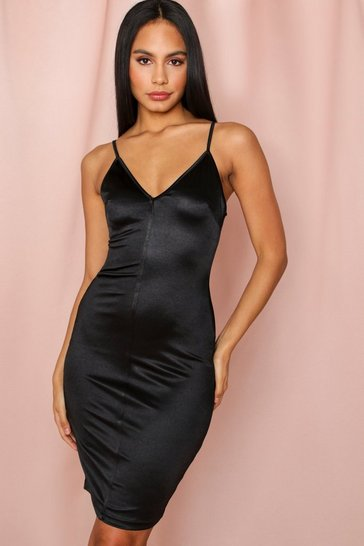 Black Strappy Satin Midi Dress