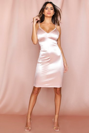 Nude Strappy Satin Midi Dress