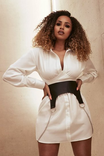 White Bandage Corset Shirt Dress