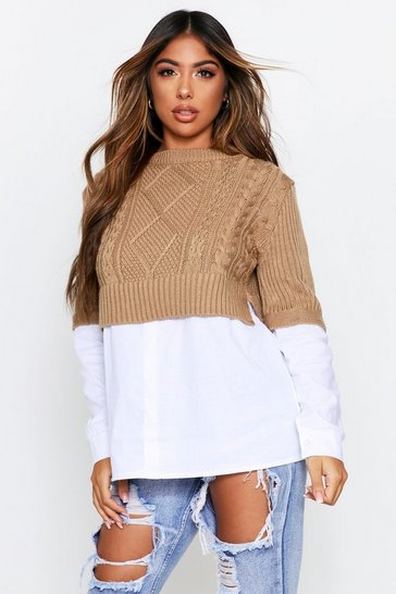 Womens Camel Cable Knit Jumper