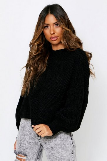 Black Oversized Balloon Sleeve Cropped Jumper