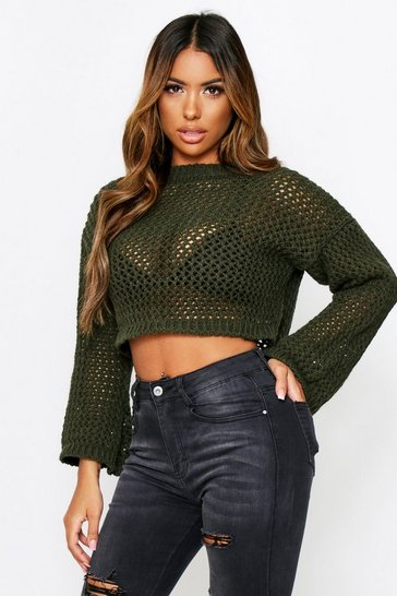 Womens Khaki Loose Knit Cropped Jumper