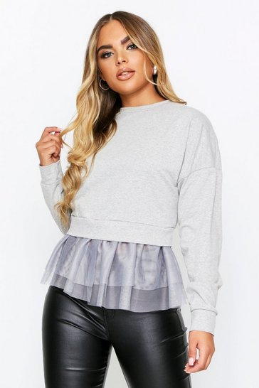Grey 2 In 1 Mesh Sweat Top
