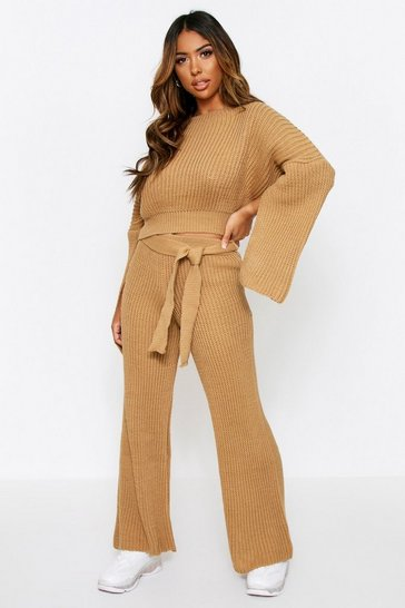 Camel Knitted Trouser & Jumper Co Ord