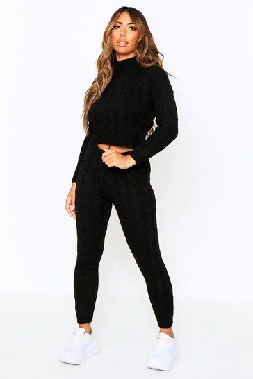 Black Cable Knit Co-Ord