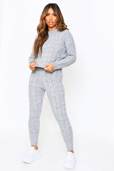 grey cable knit loungewear set