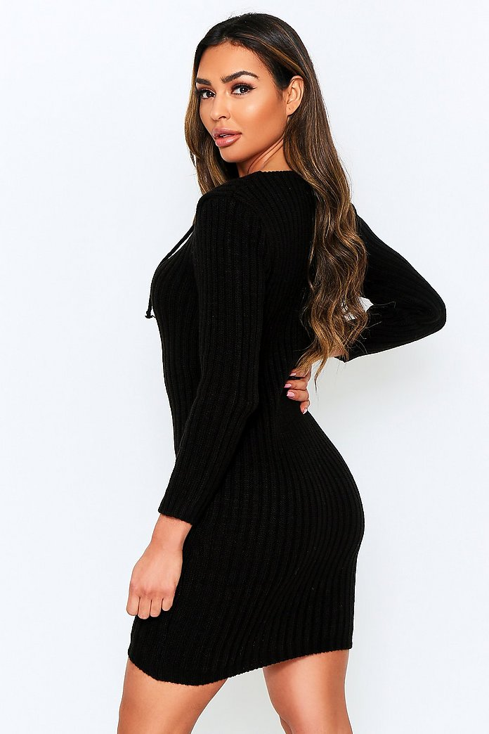Knitted Tie Front Midi Dress | Misspap Australia