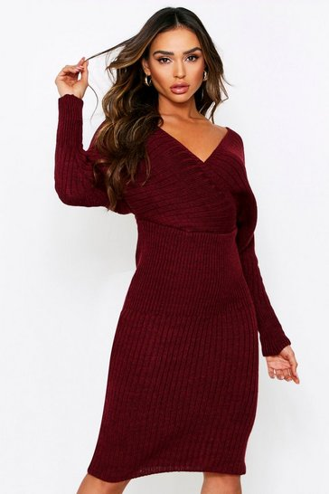 Womens Berry Wrap Batwing Knitted Midi Dress