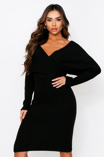 Womens Black Wrap Batwing Knitted Midi Dress