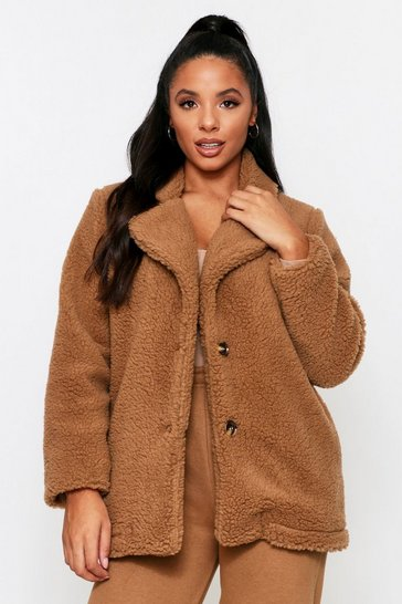 Camel Teddy Faux Fur Coat