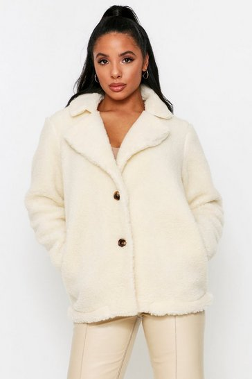 Ivory Teddy Faux Fur Coat