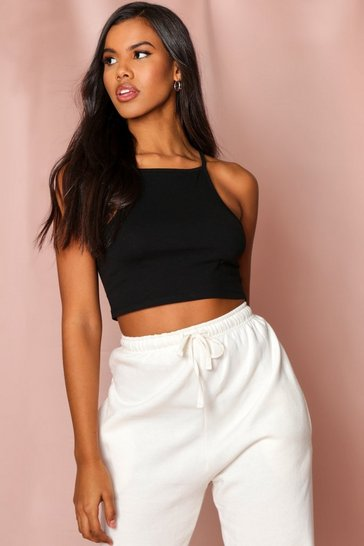 Black Strappy Racer Crop Top