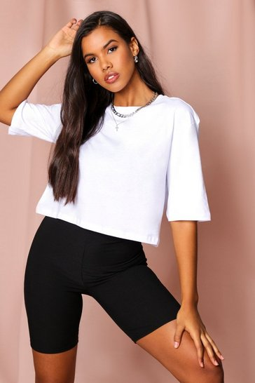 White Crew Neck Boxy Crop T-Shirt