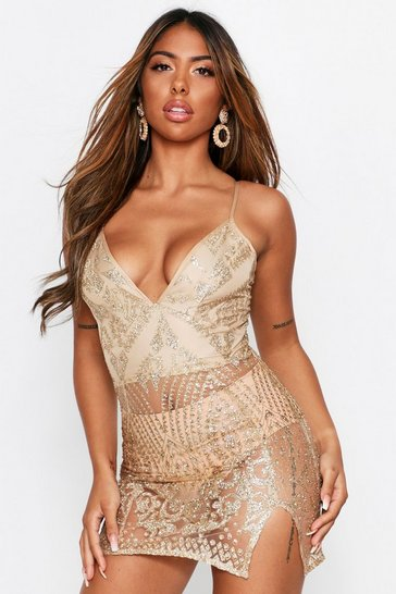 Womens Gold Glitter Mesh Plunge Mini Dress
