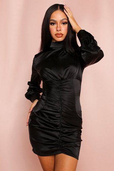 Black Ruched Satin High Neck Mini Dress