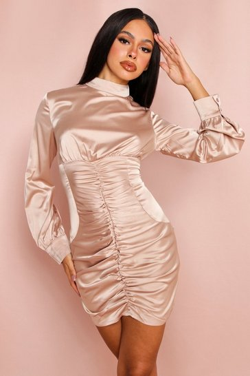 Champagne Ruched Satin High Neck Mini Dress