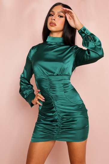 Emerald Satin Ruched High Neck Mini Dress