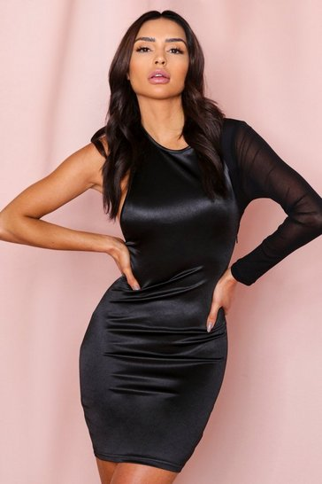 Black Satin One Shoulder Mesh Sleeve Mini Dress