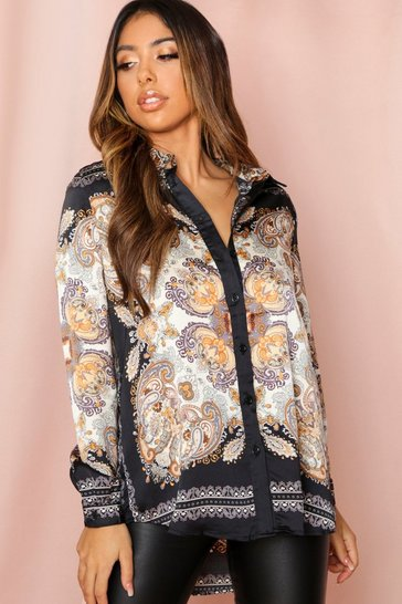 Black Scarf Print Satin Oversized Shirt