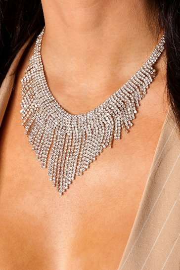 Gold Diamante Drop detail Necklace