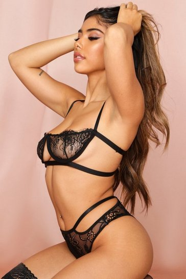 Black Lace Cut Out Bra Lingerie Set