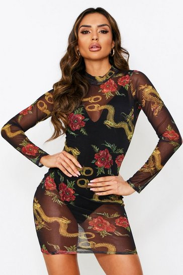 Womens Black Dragon Print Mesh High Neck Dress