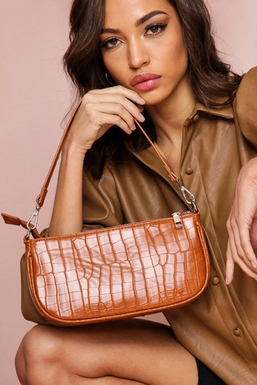 Tan Faux Croc Shoulder Bag