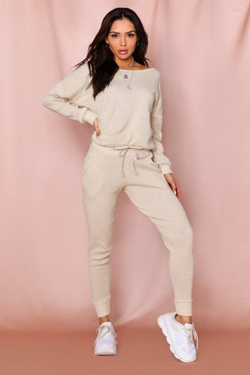 Stone Basic Slash Neck Knitted Lounge Set