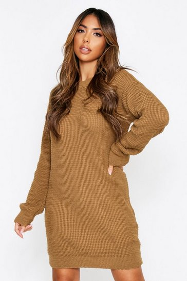 Camel Basic Waffle Knit Jumper Dress