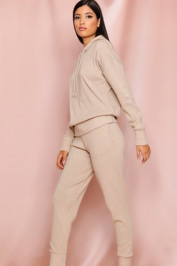 Stone Basic Knitted Hooded Lounge Set