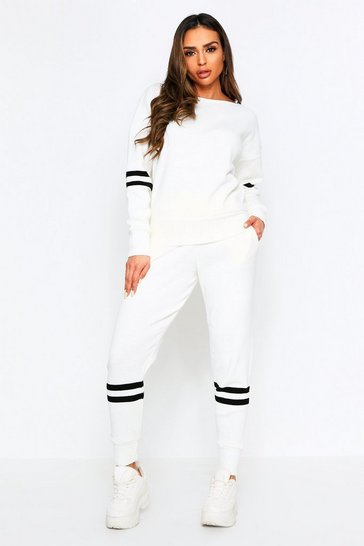 Womens Cream Sports Stripe Knitted Lounge Set