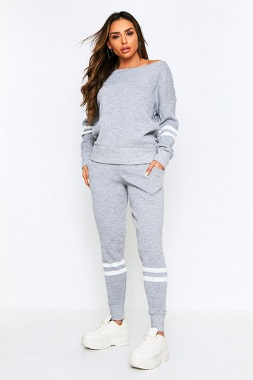 Womens Grey marl Sports Stripe Knitted Lounge Set