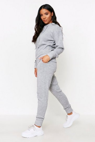 Womens Grey marl Basic Knitted Hooded Lounge Set