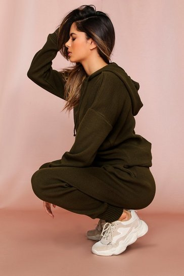 Khaki Basic Knitted Hooded Lounge Set