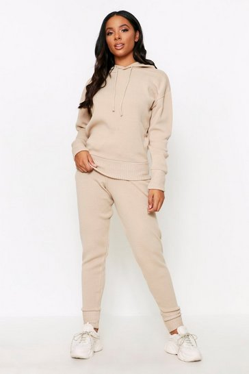 Womens Oatmeal Basic Knitted Hooded Lounge Set