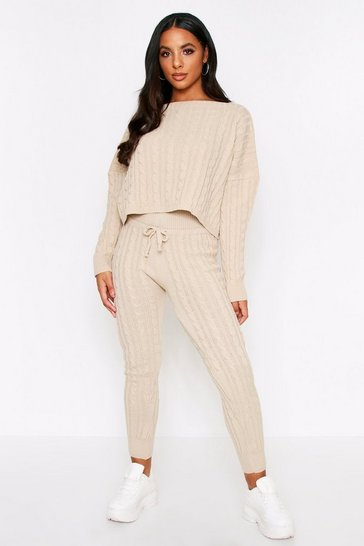 Oatmeal Cable Knit Slash Neck Lounge Set