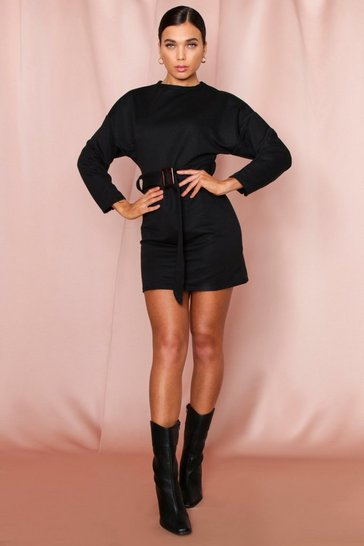 Black Belted High Neck Sweat Dress